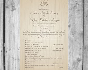 Carved Tree Wedding Programs