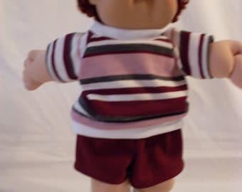 "16"" Boy Cabbage Patch Maroon Short Set"