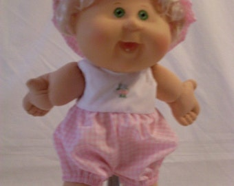 """14"""" Baby Cabbage Patch Pink and White Romper with Matching Hat"""