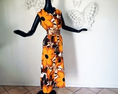 LG Ruffled Hawaiian Dress Vintage 1960s 60s 1970s 70s MOD Flower Maxi Dress Polynesian Muumuu Tropical Tiki Luau Party XL Hawaii