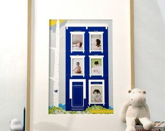 Little Brownstone Home is Where the Heart Is - Baby's First Year modern nursery art print & photo mat - 13x19 blue yellow children decor