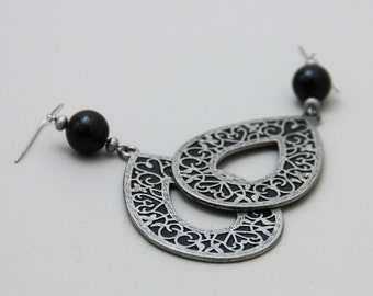 CLEARANCE - Affair with Darkness - Big Filigree Teardrop Earrings with Black Accents