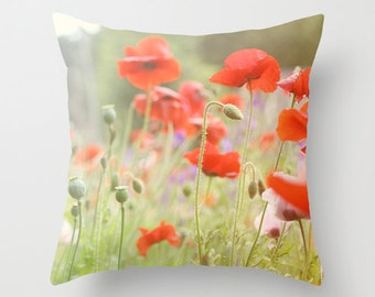 Decorative Pillow Cover, Photo Pillow Case, Accent Pillow Case, Poppy Flowers Pillow, Orange Red Green, Flower Field Pillow, 16 18 20 inch