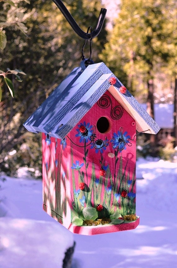 Birdhouse Hand Painted Blue Sunflowers Lady By