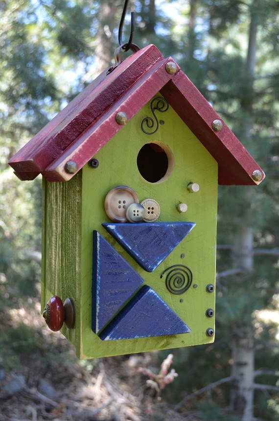 Birdhouse Handmade Wooden Vintage Button By