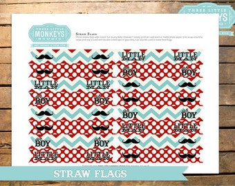 INSTANT DOWNLOAD Little Man or Little Mister Mustache Straw Flags