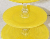 Cupcake Stand Cake Stand Yellow Shabby Chic 3 Tier Vintage Reclaimed Made to Order