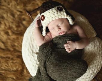 Chunky Aviator Baby Hat--Newborn--Infant--Toddler--Photography Prop--Crochet