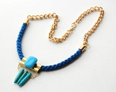 IONA // Blue woven rope statement necklace //  Brass  tube and Turquoise howlite Spikes // Gold plated chain