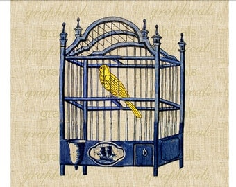 Delft blue birdcage Yellow bird Instant graphic Digital download image transfer for iron on burlap pillow decoupage papercraft tag No.1840