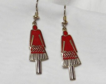 Laurel Burch Femme Earrings - Red - Retired Design and Discontinued Jewelry Line - Vintage