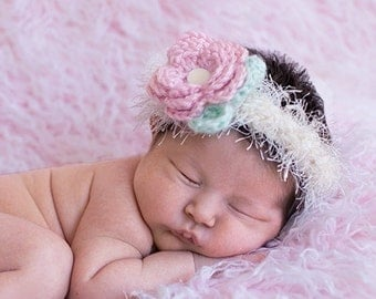 Baby Girl - Beautiful Baby Headband  - Textured Cream Headband & Pink Flower with Leaf - ALL SIZES - Ships Free With Any Other Item