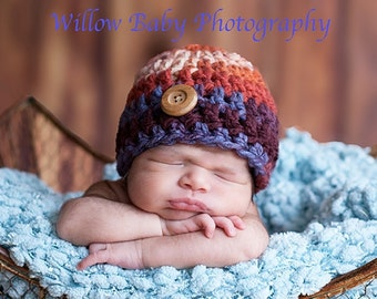 SALE READY Baby Boy Hat  -Baby Hat Soft and Chunky Great Blue, Brown and Copper Shades with Wood Button Detail