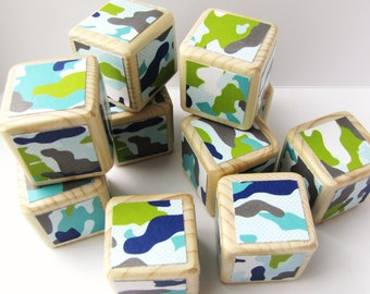 Wooden Blocks. Camoflauge. Fatigue. Army. Blue.Green. nursery decor. Baby shower decoration. For Boys. New baby gift. decorated blocks. kids