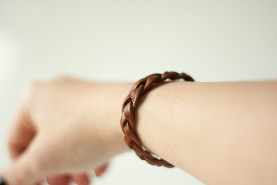 Braided Leather Bracelet / Brown / Solstice