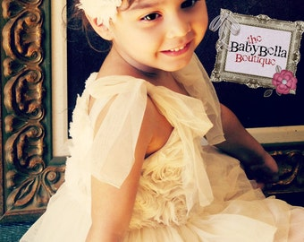 Baby  ivory,Lace headband with chiffon rosette flowern ,big gorgeous rhinestone.