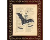 "Death Rides a Black Bat Horror Collage Antique Book Page Art Print 8""x10"""