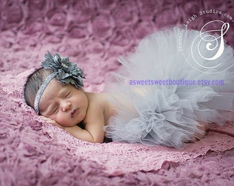 Sweet Slate Gray Sparkle Couture Tutu Set With Matching Flower Headband From The Sweet Sweet Couture Collection
