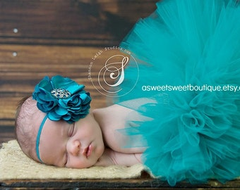 Totally Teal Tutu Boutique Style Custom Made With Matching Flower Headband Beautiful Newborn Photo Prop MANY COLORS AVAILABLE