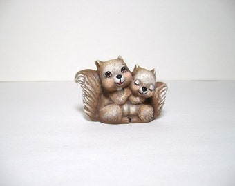 Squirrels, ceramic miniature luv squirrels
