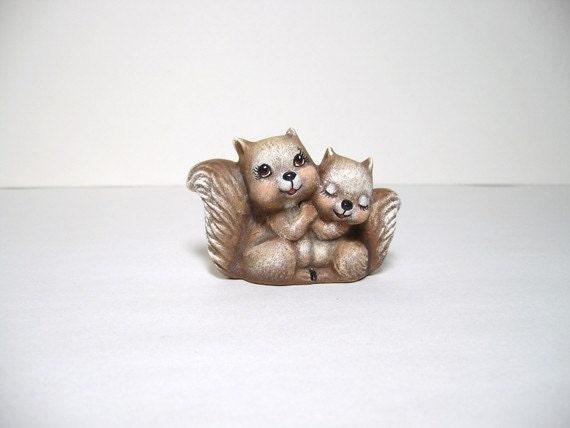 Squirrels, ceramic miniature luv squirrels
