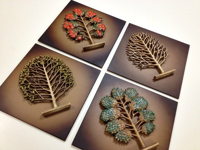 Vintage Syroco 4 Seasons Tree Wall Plaques Mid Century