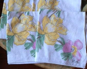 Vintage Vera Neumann Napkins Set of 4 Peonies Greenery Yellows Pinks Beautiful