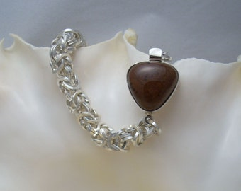 All Squared Up - Square Ring Byzantine Weave Chainmaille with Mahogany Stone Box Clasp - Handmade