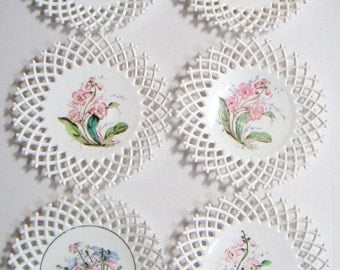 Vintage Milk Glass Plates, Floral Motif, Open Lattice Work. (6 Plates),Garden,Flowers,Cottage Chic,Chabby Chic,Spring,Hand Painted