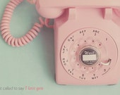 Rotary Phone Print, Pink Rotary Phone, Vintage Rotary Phone, Shabby Chic Art, Old Fashion Phone, Pink Decor, Mint Green Decor, Room Decor