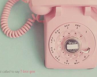 Rotary Phone Print, Pink Rotary Phone, Vintage Rotary Phone, Shabby Chic Art, Old Fashion Phone, Pink Decor, Mint Green Decor, Room Decor