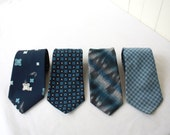 Set of 4 Vintage Ties in Blue, Wedding Ties, Groomsmen, Coordinating Ties, Vintage Ties, Navy Blue, Blue Wedding, Groomsmen Tie