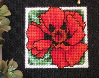 CD or Gift Card Holder with red poppy SALE Needlecraft using plastic canvas