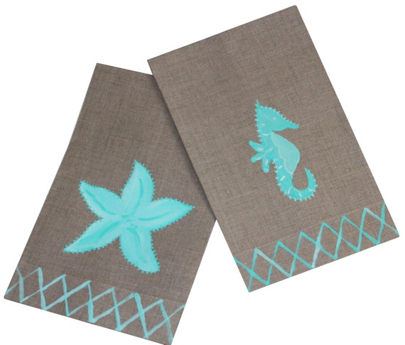 Sea Horse and Starfish Guest Towel Set