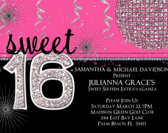 Sweet 16 Birthday Invitation - Hot Pink Custom and Printable Invite