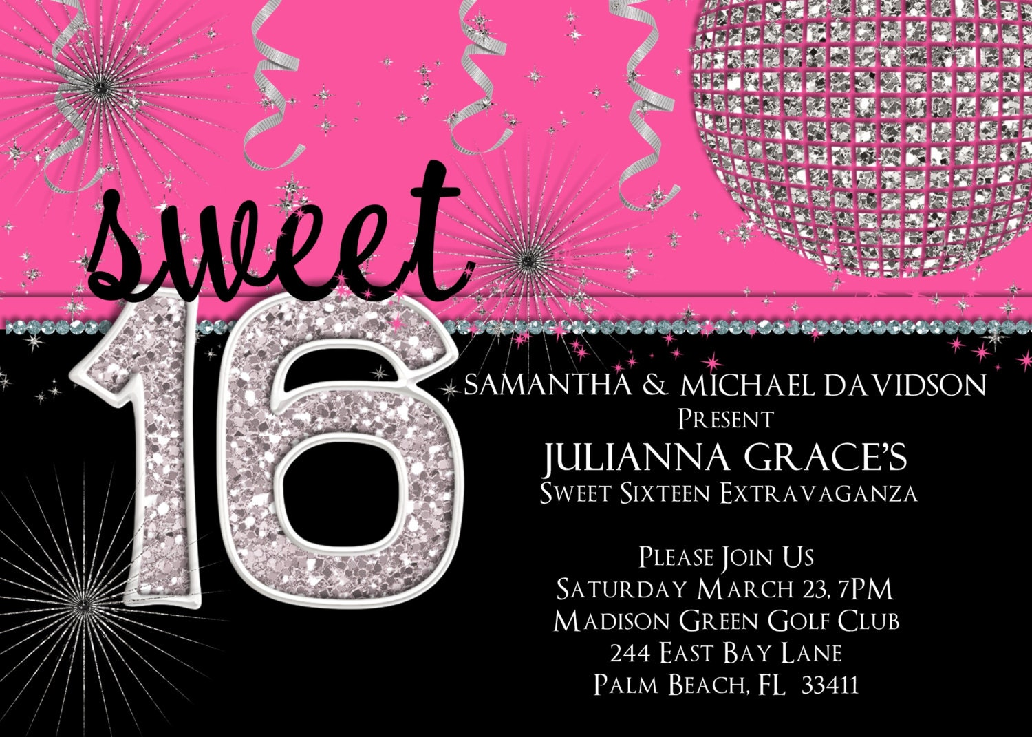 sweet 16 birthday invitation hot pink custom and printable, Birthday invitations