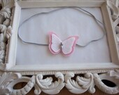 Pink White and Gray Felt Butterfly Headband Newborn Photo Prop Baby Headbands Newborn Headbands-READY TO SHIP