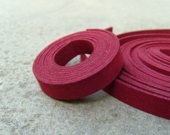 5 Yds(450 cm or 15Ft)-5 of 900X10mm Faux Suede Lace Straps-Burgundy(Dark Red, Old-Light Burgundy)(FS10-41)