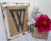 Wedding monogram, last initial burlap and distessed wood sign, w,s,g,t,b,n,m, or your letter