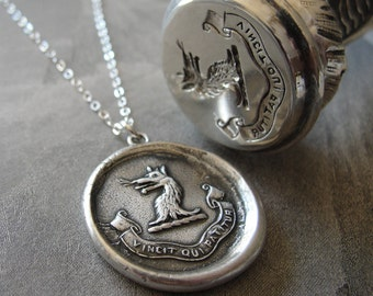 Who Endures Conquers - Wax Seal Necklace Wolf and Latin motto - antique wax seal jewelry by RQP Studio