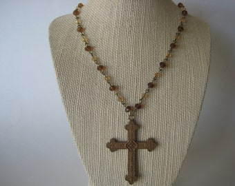 Antique Bronze & Brown Glass Beads and Cross on Rosary Chain