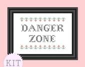 KIT Cross Stitch Danger Zone Archer Quote