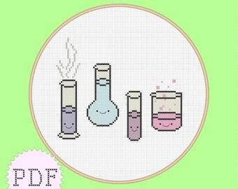 Kawaii cross stitch pattern PDF INSTANT DOWNLOAD chemistry beaker glass