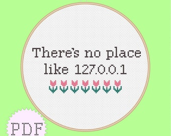 PDF cross stitch pattern, No Place Like Home  INSTANT DOWNLOAD