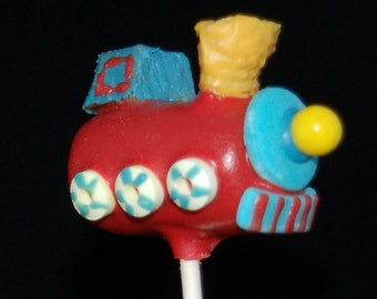 TRAIN CAKE POPS, Character Cake Pops, Edible Party Favors, Children Party Favors