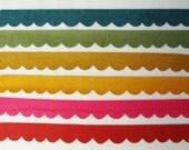 Scallop Felt Trim- 12 Pieces- You Choose Colors- Mix/Match
