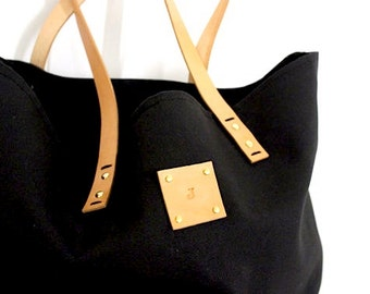 Canvas Tote... SPECIALIZED LABEL...BLACK tote bag