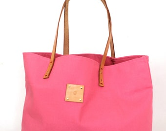 Canvas Tote... SPECIALIZED LABEL... Petite Honeysuckle PINK tote bag