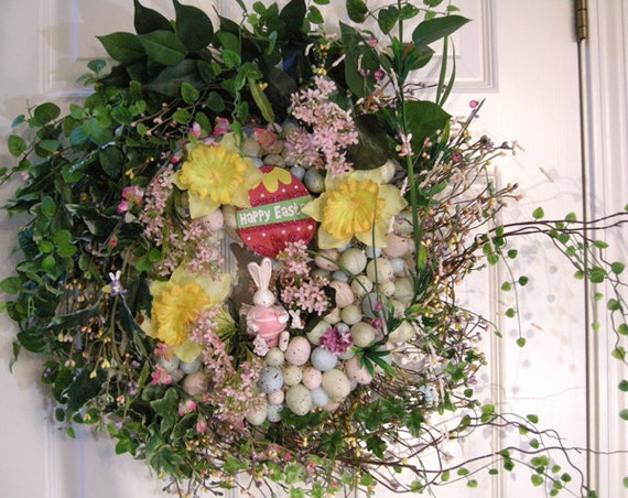 Large Easter Front Door Wreath Wreaths By Kittykwreaths On