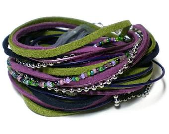 bohemian leather wrap bracelet, suede ribbon wrap, purple green triple wrap, rocker bracelet